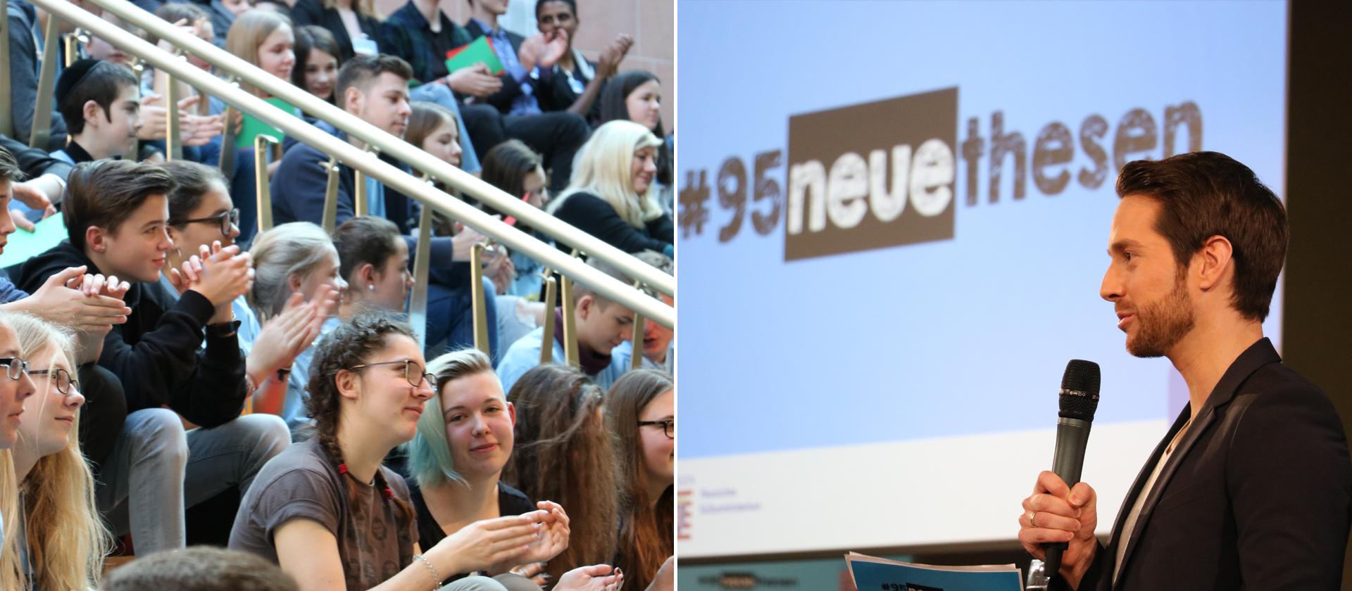 200 Schüler diskutieren mit Moderator Mirko Drotschmann und seinen Gästen.  Bild © hr